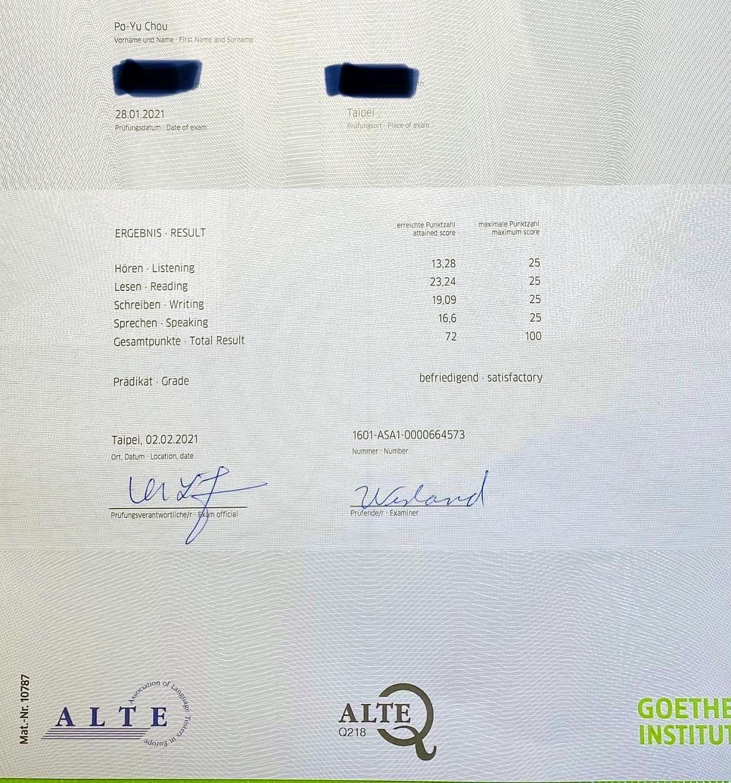 A1德語檢定通過證明