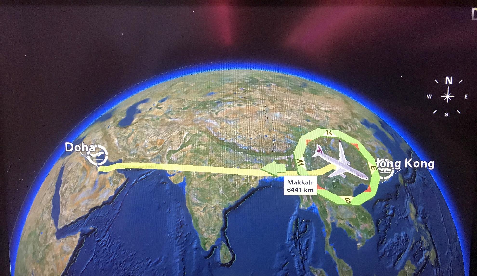 五月八日凌晨從卡塔爾返港路線
